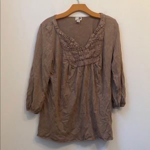 ONE WORLD SOLID BROWN LONG SLEEVE BLOUSE SIZE XL